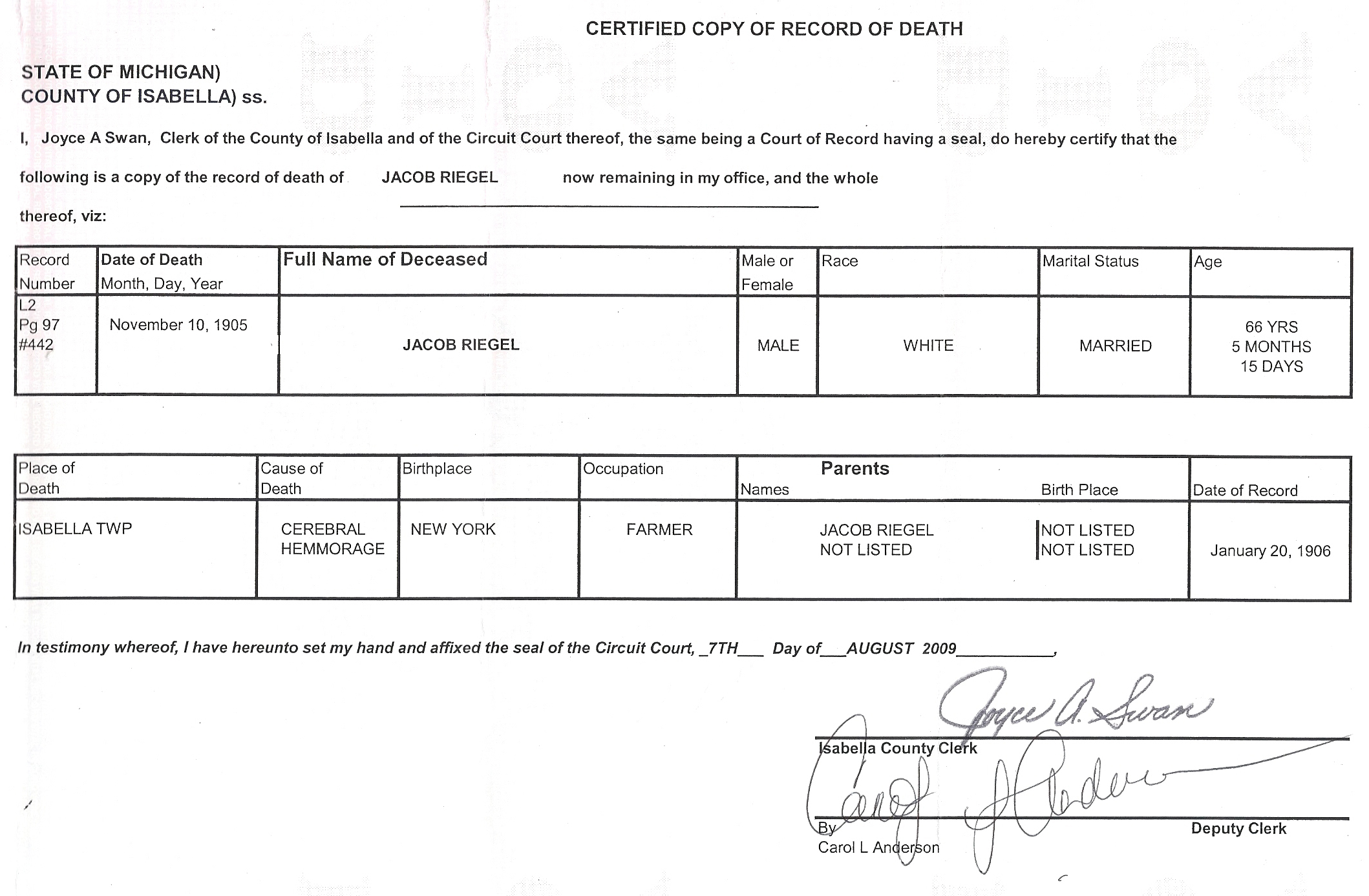The hochadel family death certificate of magdalena hochadel death certificate of jacob riegle 1betcityfo Images